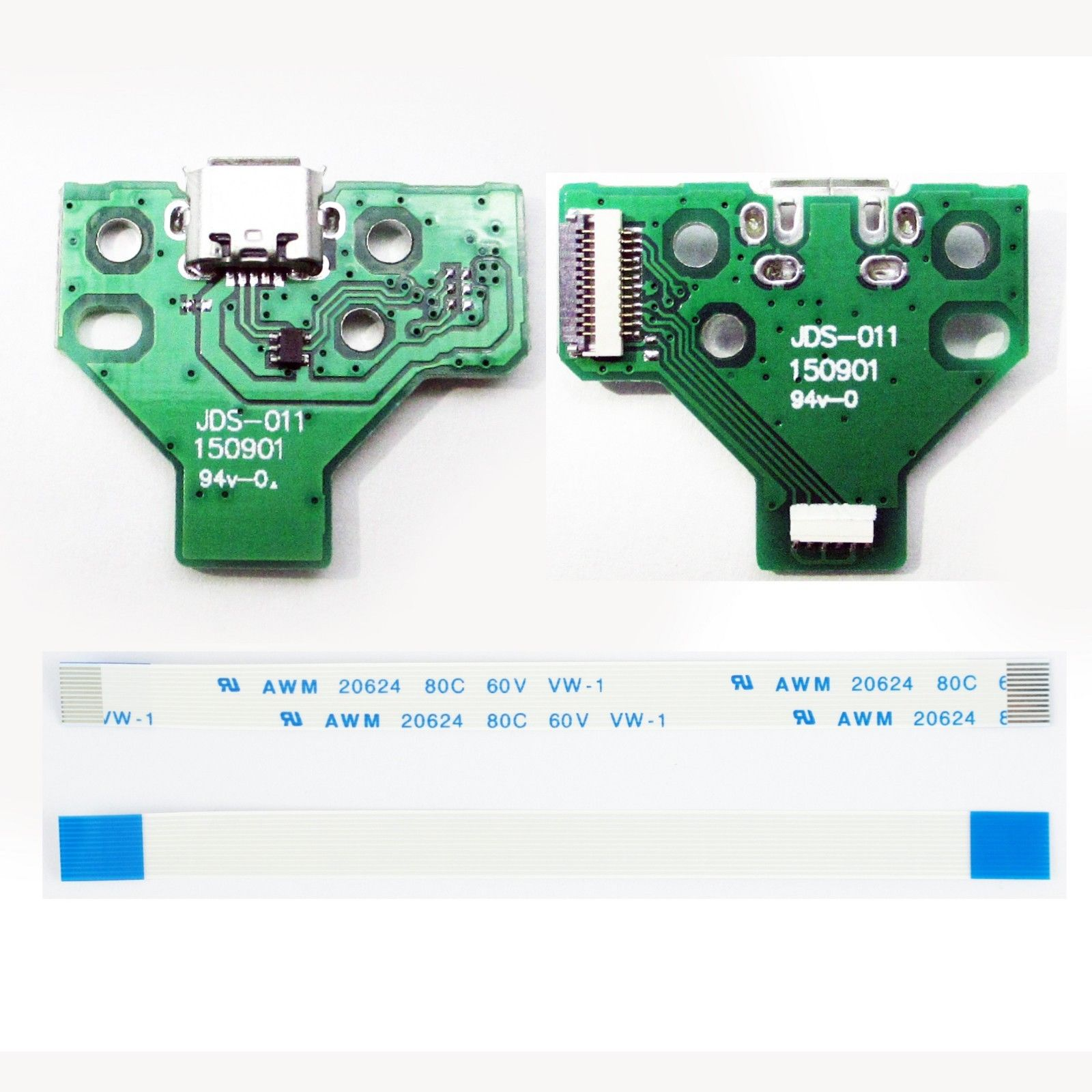 USB Charging Port Board JDS-011 for PS4 Playstation4 Controller Dualshock4 Flex Cord 12 Pin 5 in 1 jds 001 jds 011 12pin 14pin power charge board