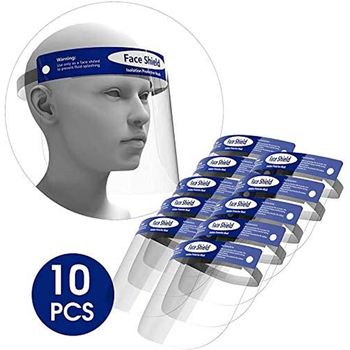 10 Pack All-Round Protection Hat with Clear Wide Visor Lightweight Transparent Shield with Adjustable Elastic Band