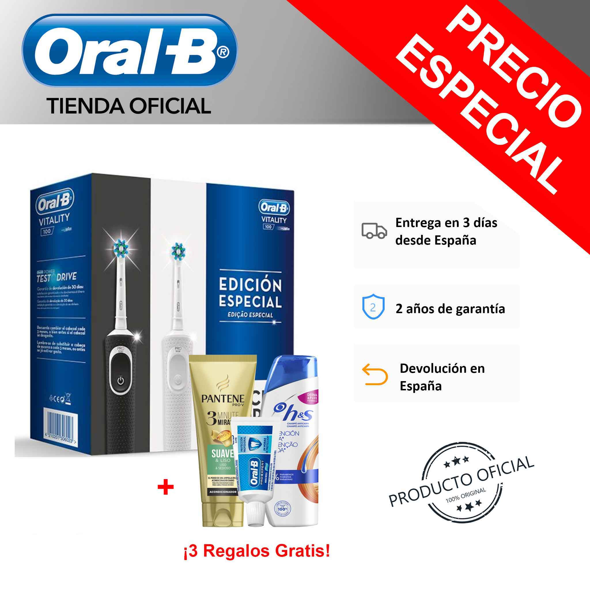 Pack 2 Cepillos Eléctricos Recargables Oral-B Vitality D100 CrossAction Blanco/Negro + Dentífrico Oral-B Pro Expert PP Clean image