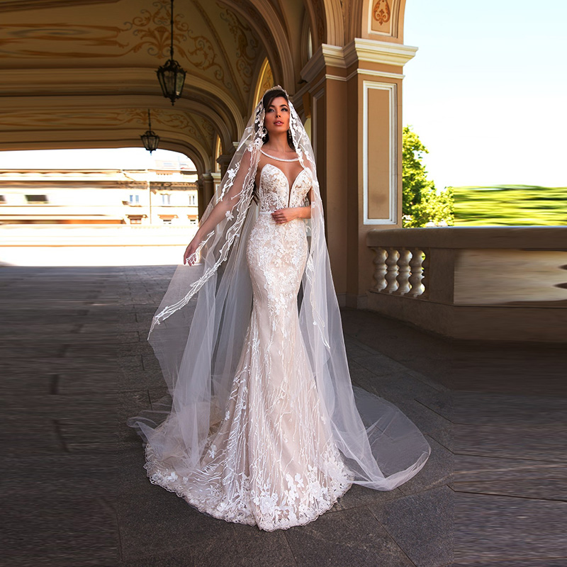 Stunning Elegant Mermaid Lace Cap Sleeves Bride Wedding Dresses Sheer Jewel Neck Bridal Gowns Illusion Back Appliqued Slim
