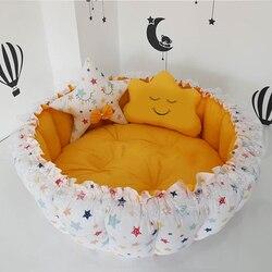Jaju детский желтый дизайнерский игровой коврик со звездами для малышей, детский игровой коврик с гнездом, прикроватный детский шезлонг, порт...