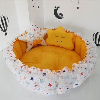 Jaju Baby Stars Yellow Desing Baby Play Mat Babynest Play Mat Baby Nest Bedside Baby Chaise Lounge Portable Baby Bed Port