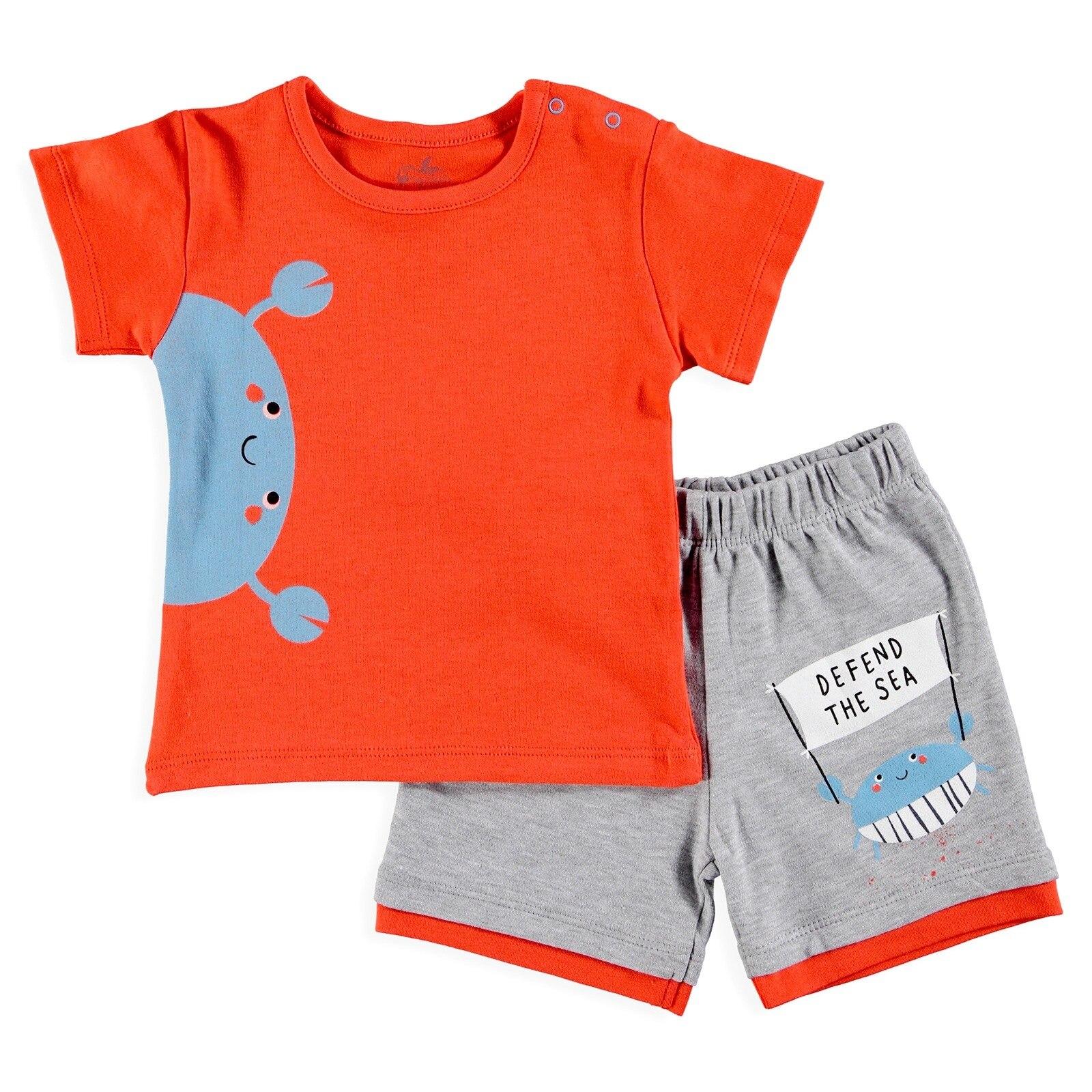 Ebebek Newborn Fashion Club Baby Boy Fun Summer Tshirt Short Set