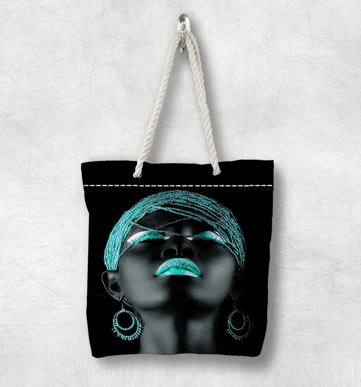 다른 흑인 소녀 녹색 머리 입술 새로운 패션 화이트 로프 핸들 캔버스 가방 코튼 캔버스 지퍼가 달린 토트 백 숄더 백