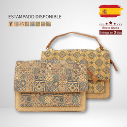 Giovanna Milano Cork Crossbody Bag with Chain and Flap Portuguese Tile Pattern Shoulder Bag Geometric Drawings Sintra Collection