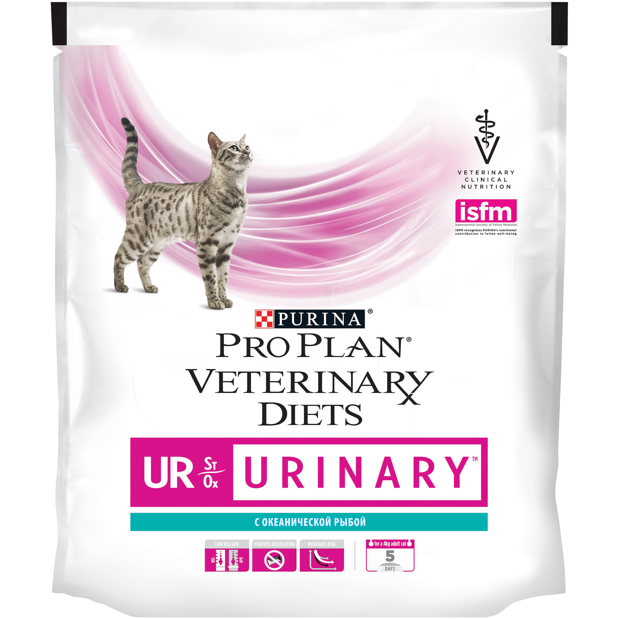 Set of dry food Pro Plan Veterinary diets UR cat food for diseases of the lower urinary tract with ocean fish, 6 packs of 350 g
