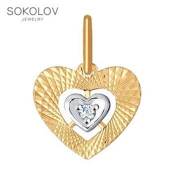 Pendant in the shape of a heart SOKOLOV fashion jewelry gold 585 women's male, pendants for neck women