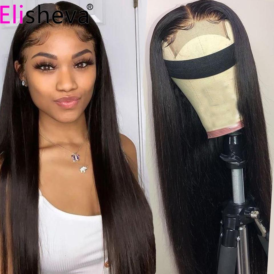 Perucas retas do cabelo humano de 30 polegadas 13x4 perucas do cabelo humano da parte dianteira do laço peruca brasileira do cabelo humano glueless com elástico da faixa
