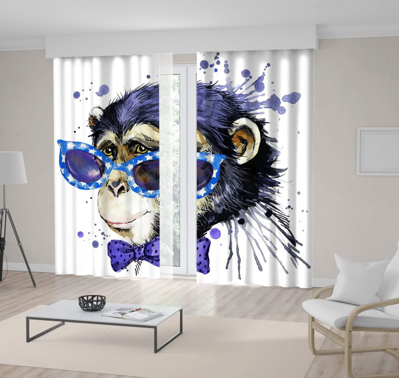 Black Curtain Monkey Exotic Purple African Sunglasses Nature Wearing Chimpanzee Artwork title=