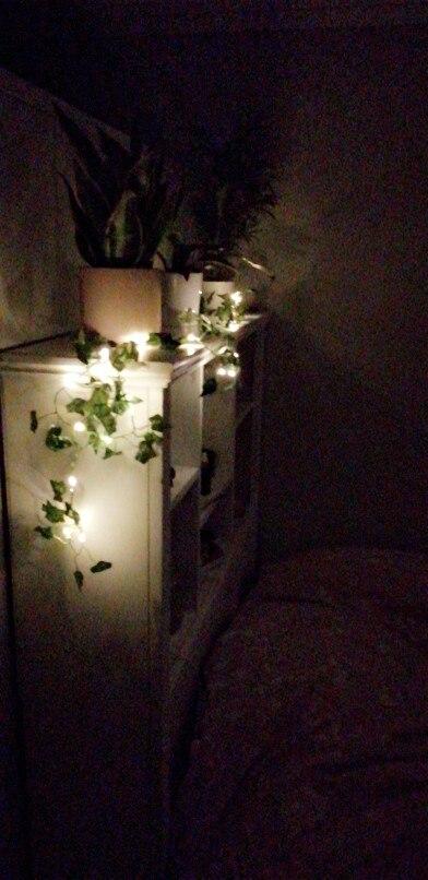 Fios de LED Garland Folhas Corda,