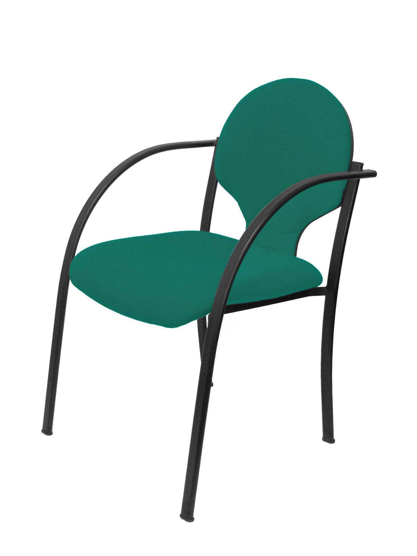 Visitor Chair Desk Ergonomic With Arms Fixed Incorporated, Stackable And Structure In Black Color Up Seat And Backstop Tap
