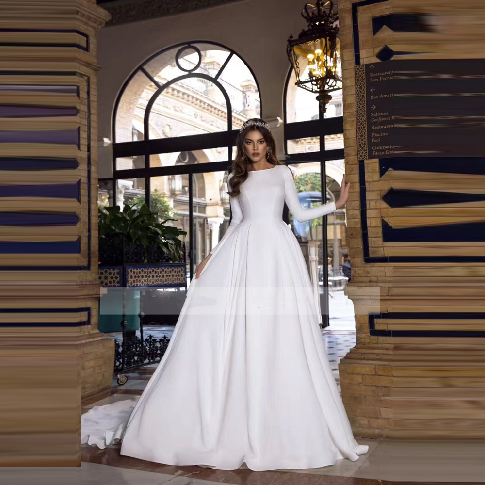 Modest Scoop Long Sleeves A-Line Wedding Dresses Garden Long Bridal Gowns Custom Made Formal White Robe De Mariee Simple