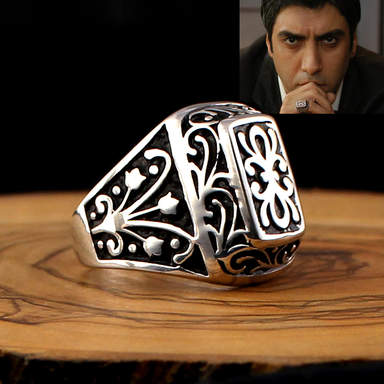 925 Sterling Silver Ring For Men Jewelry Fashion Vintage Gift Mens Rings Onyx Aqeq Zircon All Size (Made In Turkey)