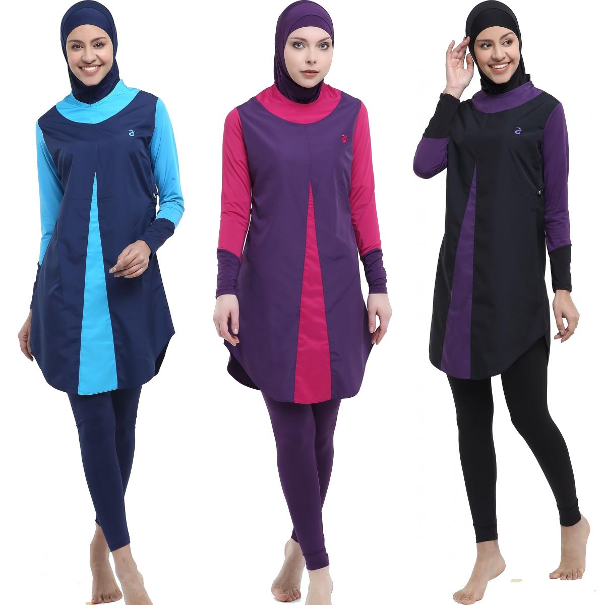 Argisa 7115 Hidden Zipper Micro Sleeves Long Hijab Swimwear S-XXL Muslim Hijab Islamic Swimsuit Swim Burkinis Full Cover