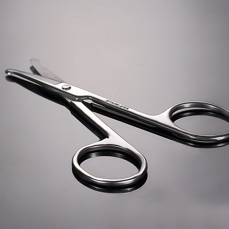 2pcs Makeup Scissors Nose Hair Scissor Rounded Eyebrow Eyelashes Nose Hair Trimmer Epilator Face Hair Removal Tools Stainless