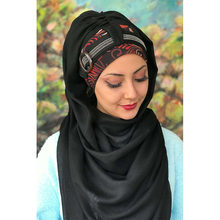 Yeni Moda Başörtüsü Müslüman Başörtüsü 2020 Sonbahar Kış İslami Türban Şapka Fular Tokalı Taşlı Kiremit Desenli Siyah Hazır Şal