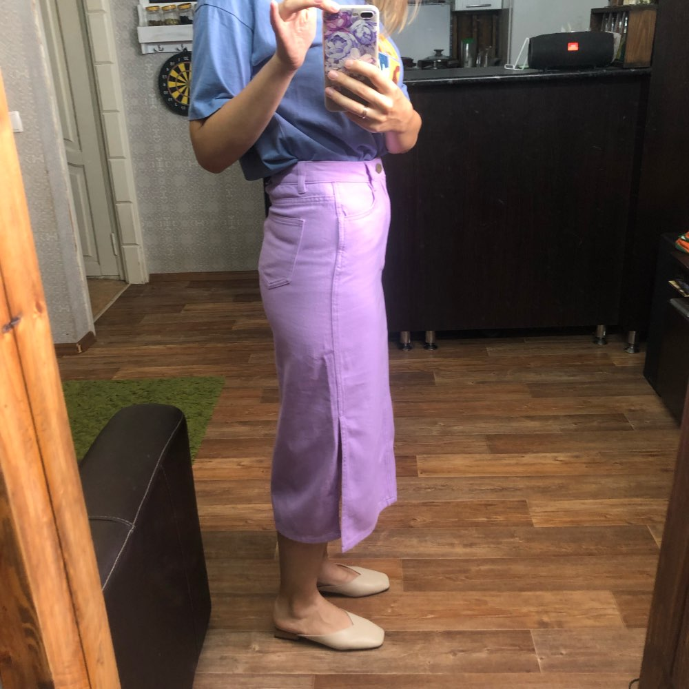 Sams Tree Women Denim Skirts Summer Vintage Solid Straight Office Lady Long Skirt Pencil Mid Calf Femme High Waist Bottoms photo review
