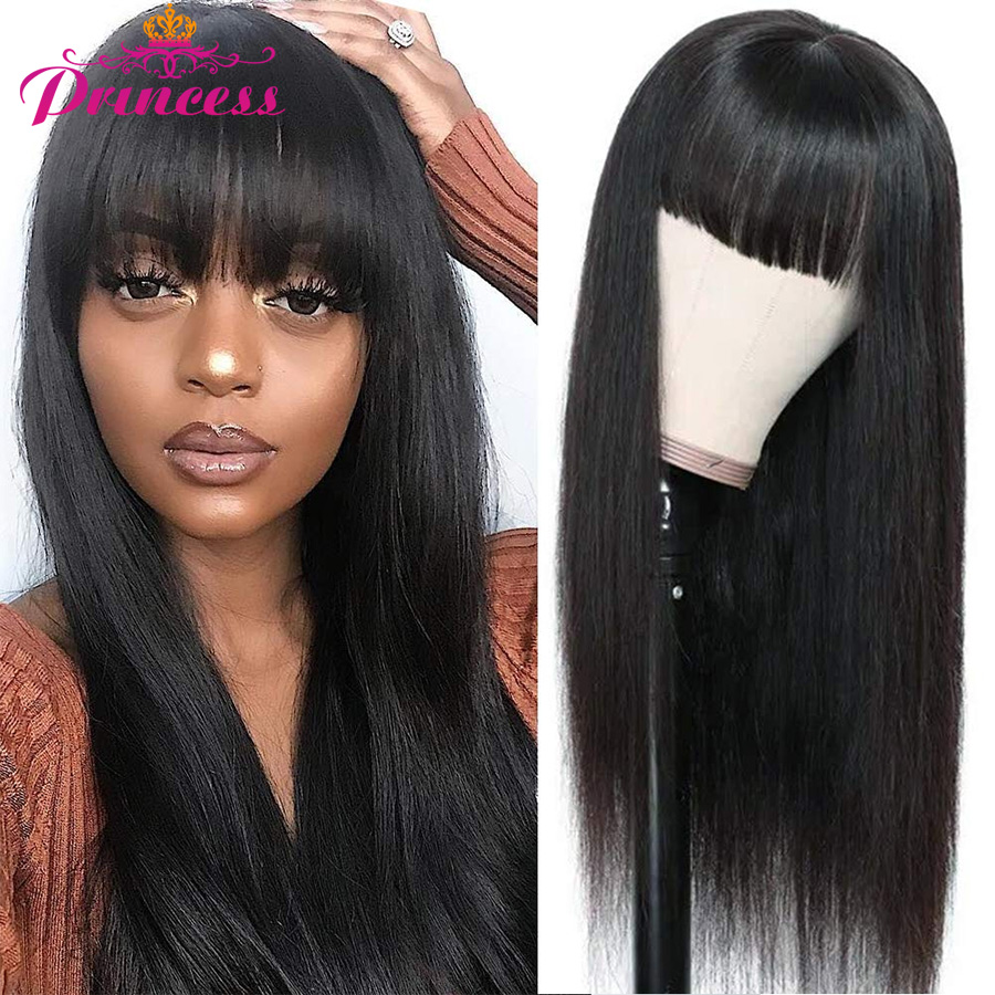 Wigs Bangs Lace-Wig Human-Hair Half-Machine Beautiful Princess Straight Black Women Brazilian