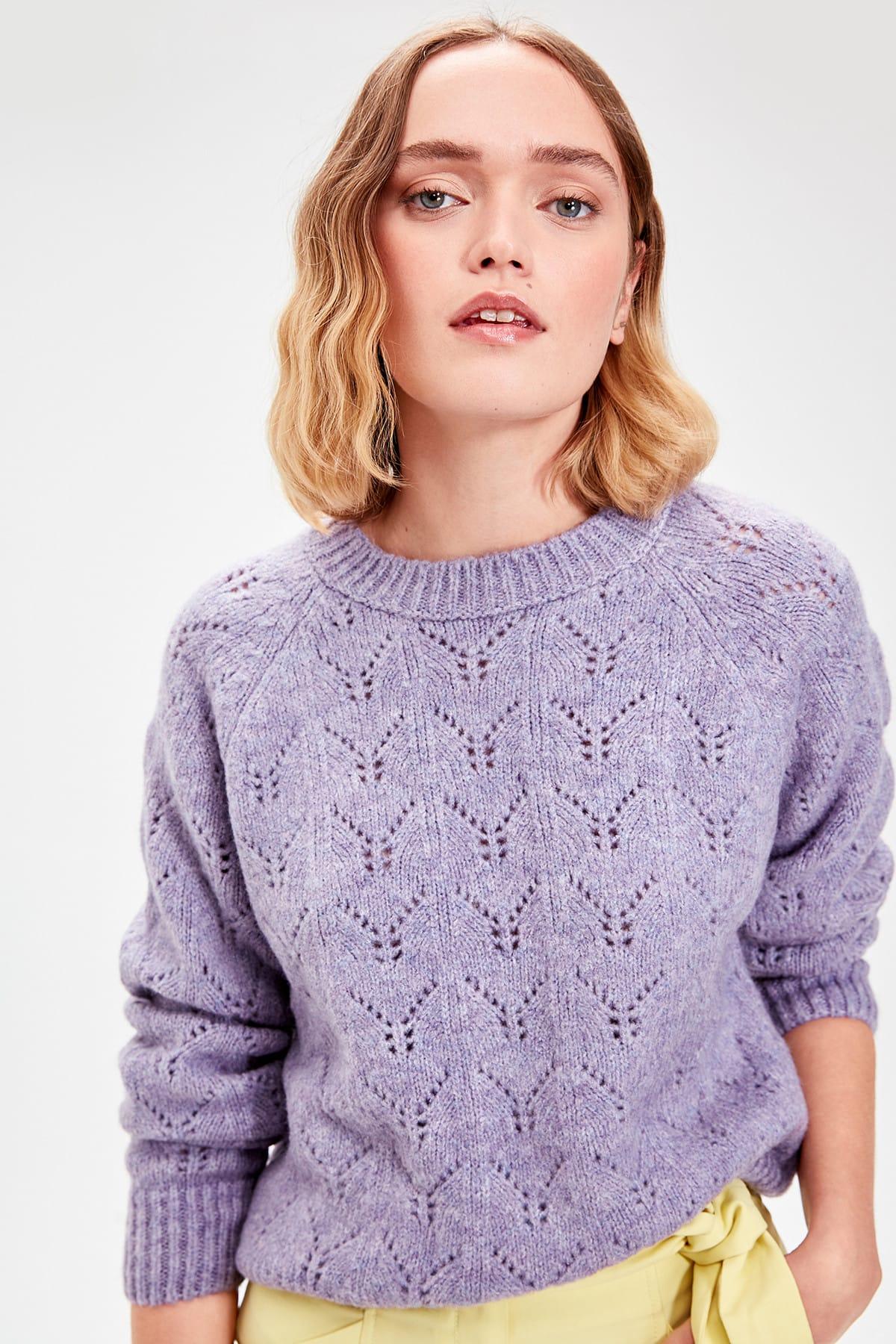 Trendyol WOMEN-Lilac Cellular Knitwear Sweater TWOAW20FV0007