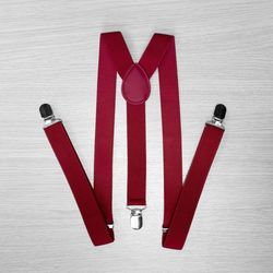 Подтяжки для брюк узкие (2.5 см, 3 клипсы, Бордовый) 50831