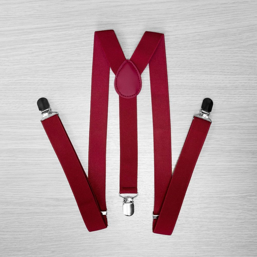 Pants Suspenders Narrow (2.5 Cm, 3 Clips, Burgundy) 50831