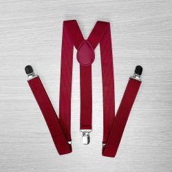Pants suspenders narrow (2.5 cm, 3 clips, Burgundy) 50831