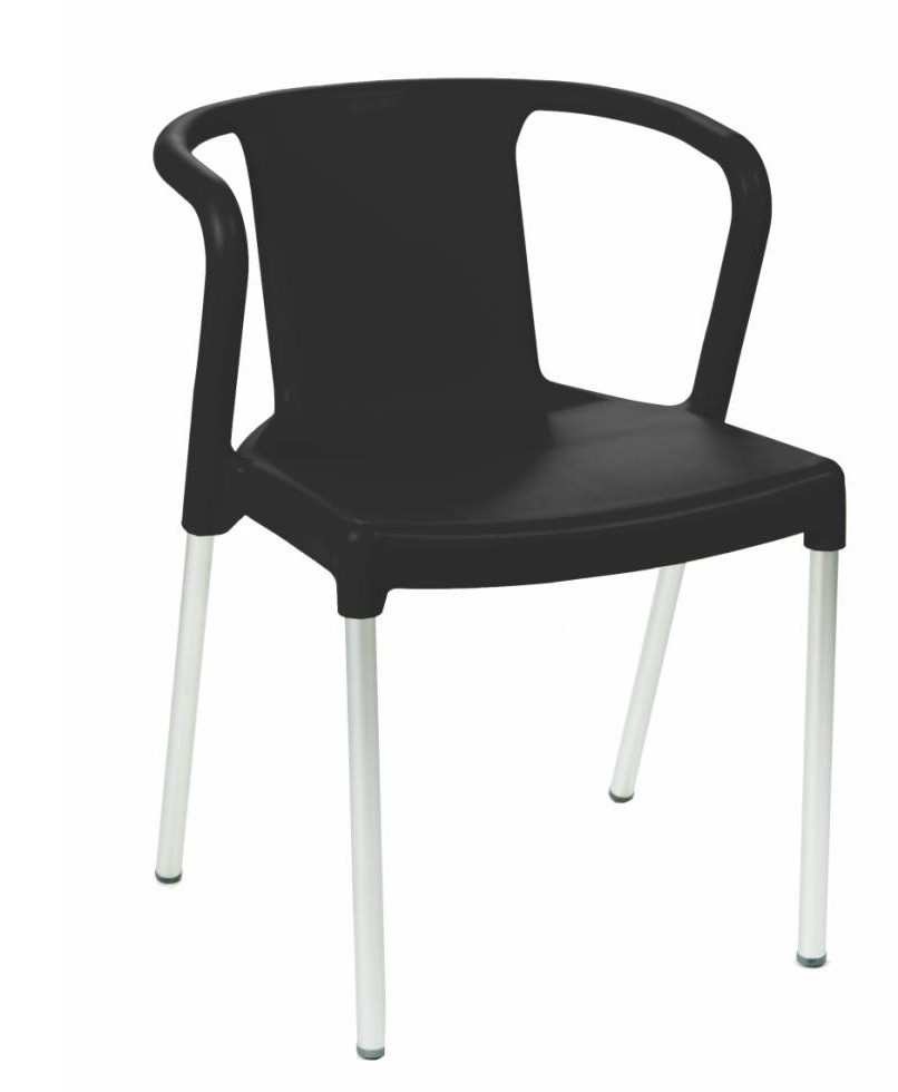 Armchair LIS, Stackable, Aluminum, Black Polypropylene *