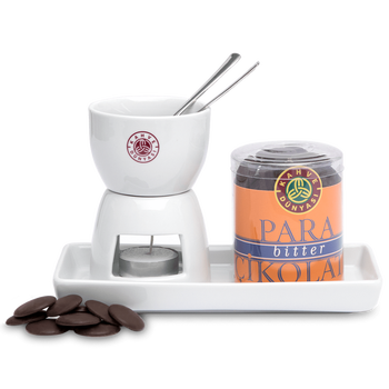 Fondue set, Fondue candle holder, chocolate bowl,  fruit plate, 2 forks, 200g dark chocolate   All in one  Fondue set