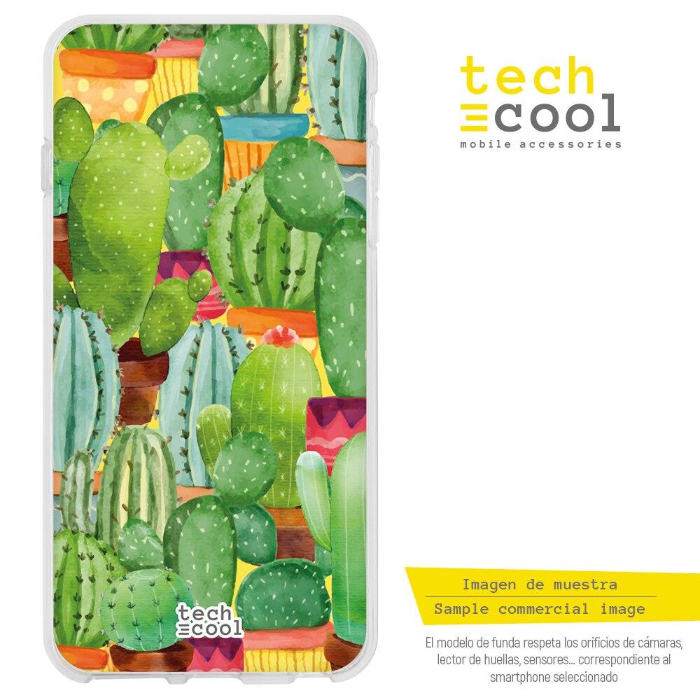 FunnyTech® Funda Silicona para BQ Aquaris X2 / X2 Pro / Vsmart Active 1 l Cactus acuarela