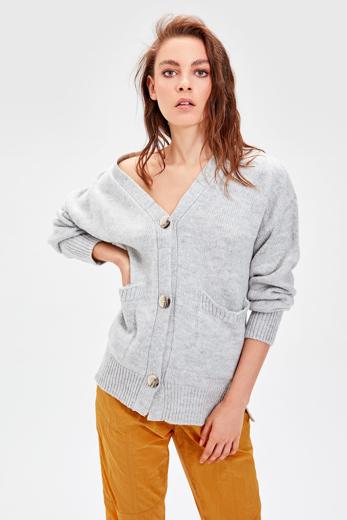 Trendyol Gray Pocket Sweater Cardigan TWOAW20ZA0016