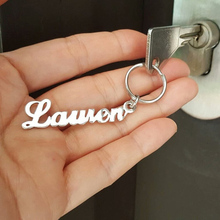 Custom Name Keychain Stainless Steel Personalized Gold Silver Key Chain llaveros para mujer Charm Jewelry BFF Bijoux Femme