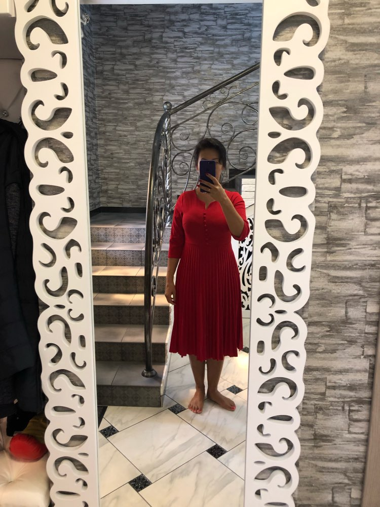 Special Design Popular Casual Style Women Dress Solid V Neck 3/4 Sleeve Pleated Midi Dress Vestidos photo review