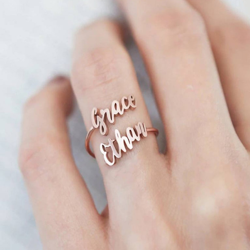 Custom Double Name Ring Two Name Rings Personalized Baby Adjustable Couples Names On Ring New Mom Gift Mother Family Rings