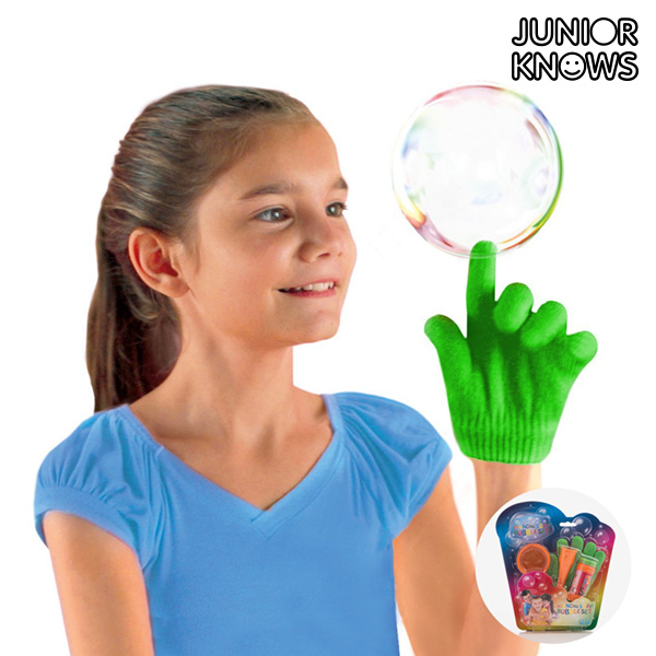 Junior Knows Soap Bubble Game With Glove