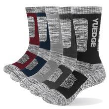 Yuedge meias masculinas de algodão, meias grossas, térmicas, espessas, 5 paris