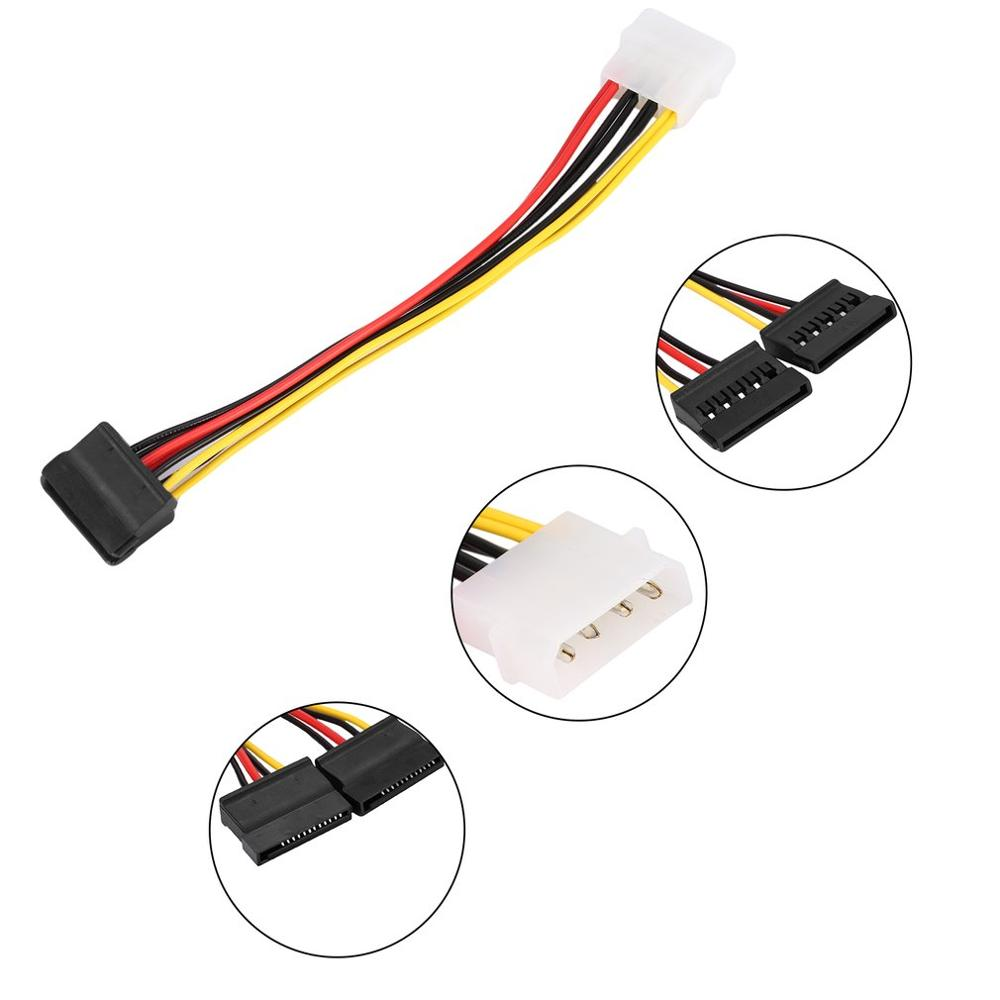 13.1 <font><b>cm</b></font> 1pcs Serial ATA <font><b>SATA</b></font> 4 Pin IDE Molex to 2 of <font><b>15</b></font> Pin HDD Y Splitter Hard Drive Power Adapter Supply <font><b>Cable</b></font> Hot Worldwide image