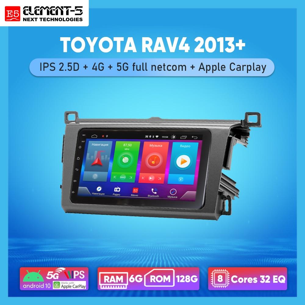 Автомобильная магнитола ELEMENT-5, 7 дюймов, 6 ГБ + 128 Гб, Android 10, 4G, 5G, Wi-Fi, RDS, DSP, для TOYOTA RAV4 2013 +, навигация GPS, HIFI