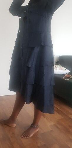 Korean Style Women Autumn Solid Blue Shirt Dress Long Sleeve Cascading Ruffle Ladies Party Club Elegant Dress Robe photo review