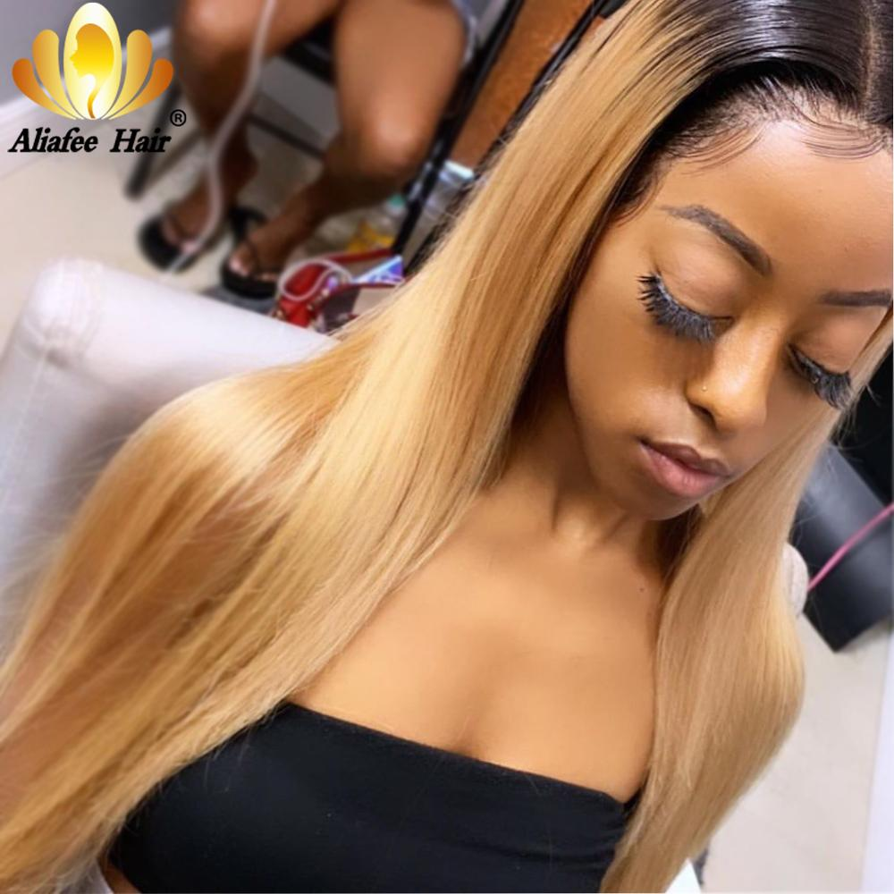 Aliafee Hair Ombre Colored 150% Blonde Human Hair Wig Malaysia Remy Straight Lace Front Wig 13x4 Wigs For Women