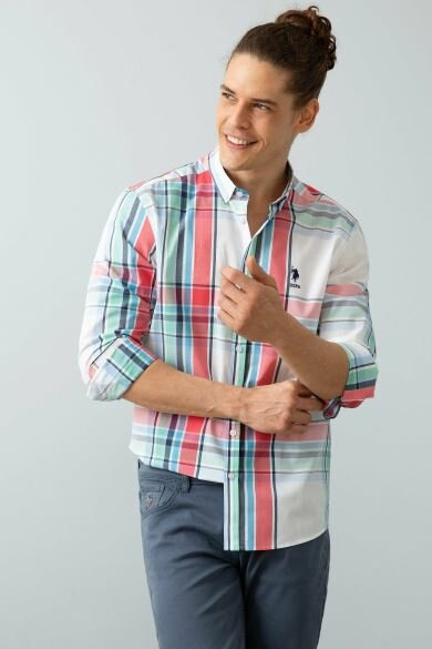 U.S. POLO ASSN. White Plaid Regular Shirt