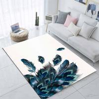 Mais branco piso verde azul pavão penas 3d impressão não deslizamento microfibra sala de estar moderna tapete lavável área tapete