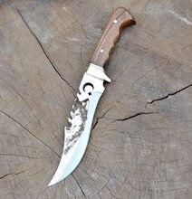 Bushcraft bıçak, keskin , paslanmaz çelik bıçak,tek parça bıçak,yüksek kaliteli, doğa bıçak, garantili,Kurt Desen, HGBZKR50