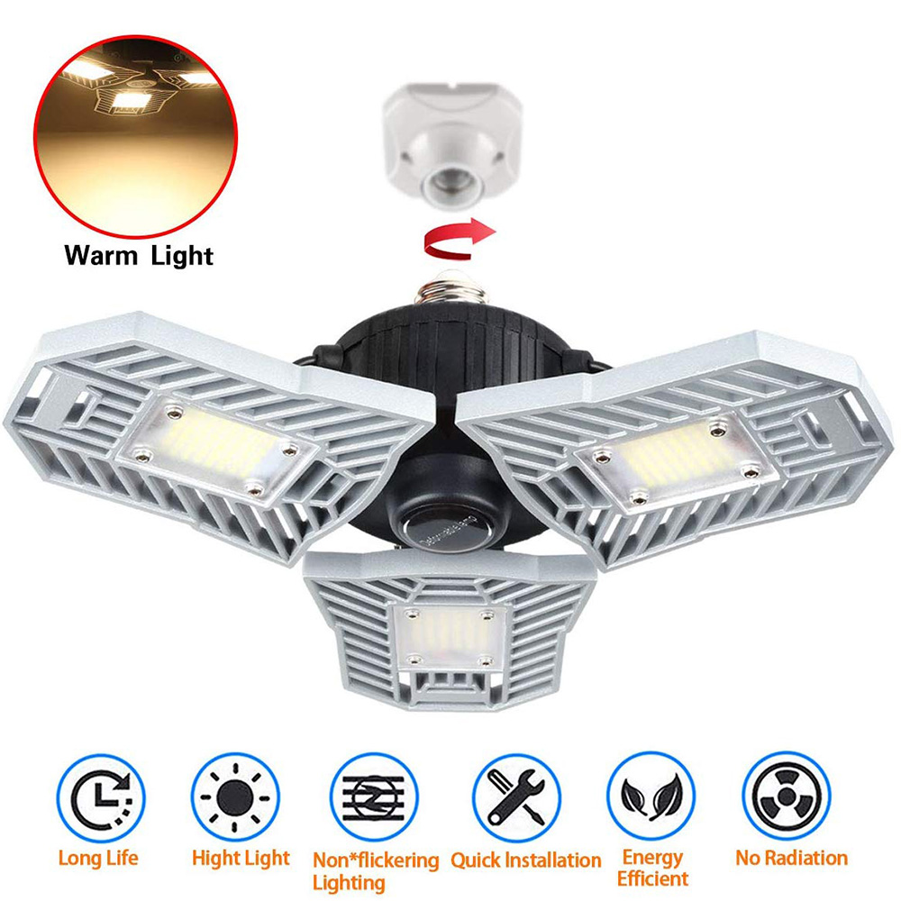 LED Garage Lights Warm Light 60W Led Shop Lights For Garage With 3 Adjustable Panels CRI 80 Screw-in Garage Ceiling Light