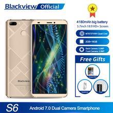 Blackview S6 携帯電話 4180 mah の 5.7 インチ hd + その処理系携帯電話 2 ギガバイト + 16 ギガバイトクアッドコア android 7.0 デュアルバックカメラスマートフォン