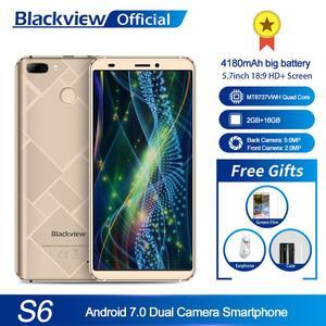 Image 1 - Blackview S6 טלפון סלולרי 4180mAh 5.7 אינץ HD + Sceen טלפון נייד 2GB + 16GB Quad Core אנדרואיד 7.0 כפולה חזרה מצלמה Smartphone