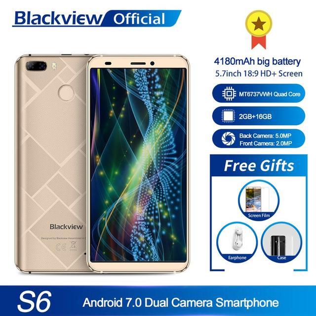 Blackview S6 טלפון סלולרי 4180mAh 5.7 אינץ HD + Sceen טלפון נייד 2GB + 16GB Quad Core אנדרואיד 7.0 כפולה חזרה מצלמה Smartphone