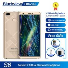 Blackview S6 Cell Phone 4180mAh 5.7 inch HD+ Sceen mobile phone 2GB+16GB Quad Core Android 7.0 Dual Back Camera Smartphone