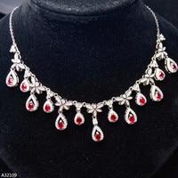 KJJEAXCMY Fine Jewelry925 Sterling Silver Natural Gemstone Ruby Rubbing Female Models Ladies Girl Lock Bone Chain Link Luxury 1