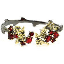 52x25mm Sublime Antique Vintage Created Blood Ruby Gift For Ladies Silver Bangle Bracelet 7.5inch
