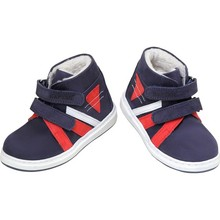 Captain Junior Men 'S Leather Baby Shoes Boots Navy Blue Red White Winter Snow Boat Antibacterial Orthopedic Soft Light